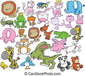 desenho, vetorial, jogo, animal, elementos