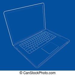 desenho, vetorial, laptop., ilustração, esboço