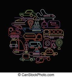 desenho, vetorial, néon, redondo, transporte