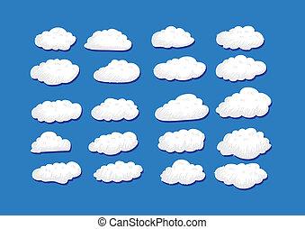 desenho, vetorial, nuvens, illustratio