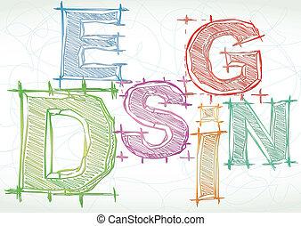 desenho, vetorial, palavra, fundo