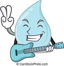 desenho, violão jogo, caricatura, músico, talentoso, pingo chuva