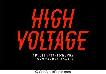desenho, voltagem, danger!, hight, estilo, fonte, modernos