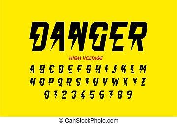 desenho, voltagem, danger!, hight, estilo, fonte