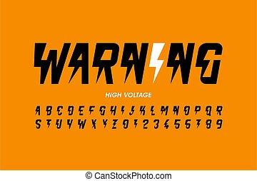 desenho, voltagem, hight, estilo, warning!, fonte