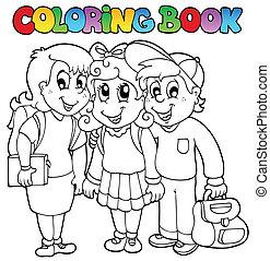 desenhos animados, escola, tinja livro, 6