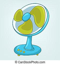 desenhos animados, lar, appliences, ventilador