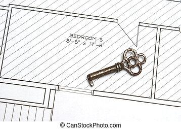 desenhos técnicos, antigas, tecla