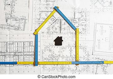 desenhos técnicos, casa, topo, arquiteta, modelo, ferramentas