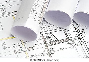 desenhos técnicos, de, arquitetura