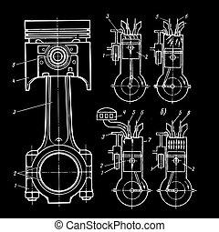 desenhos técnicos, de, pistões