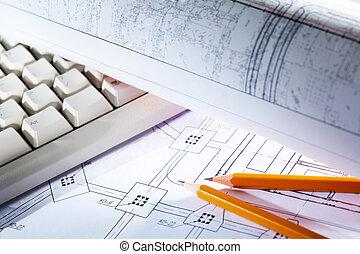 desenhos técnicos, e, ferramentas