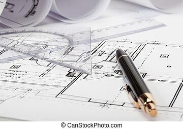 desenhos técnicos, foco seletivo, arquitetura