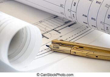 desenhos técnicos, rolos, compasso
