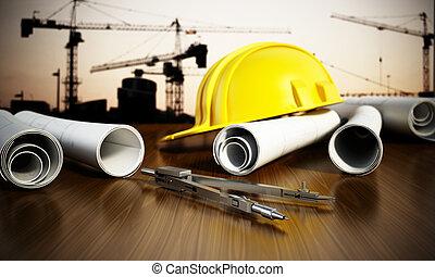 desenhos técnicos, tabela, construção, ferramentas, hardhat
