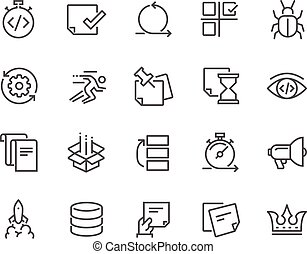 desenvolvimento, ágil, linha, ícones