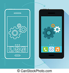 desenvolvimento, apartamento, estilo, conceito, app, vetorial