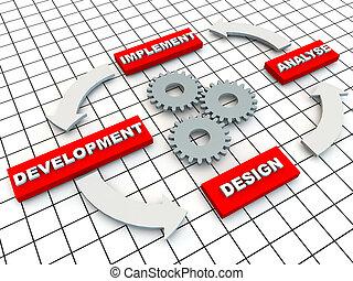 desenvolvimento, círculo, grade, engrenagens, chão