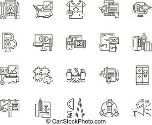 desenvolvimento, conceito, esboço, jogo, ágil, ícones, ilustração, vetorial, linha, sinais