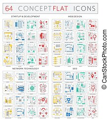 desenvolvimento, conceito, prêmio, rede, ícones, cor, mono, optimization, startup, icons., tecnologia, vetorial, apartamento, teia, infographics, seo, qualidade, desenho, design.