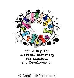 desenvolvimento, diálogo, diversidade, cultural, mundo, dia