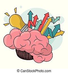 desenvolvimento, human, sucesso, luz, cérebro, seta, bulbo
