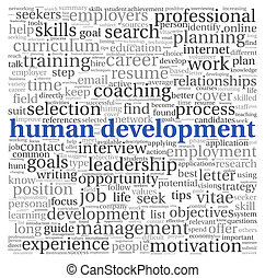 desenvolvimento humano, conceito, em, tag, nuvem, branco,...