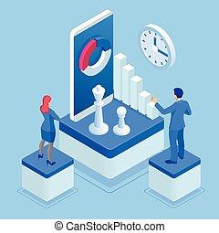 desenvolvimento, isometric, plaing, pessoas negócio, game., concept., estratégia, planificação, xadrez, marketing, meta