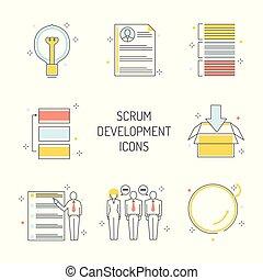 desenvolvimento, jogo, ícones, ágil, scrum, -, metodologia, project., administre