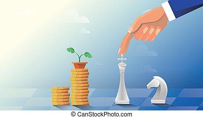 desenvolvimento, jogos, forma, câmbio, dinheiro., business., ilustração, corretor, vetorial, xadrez, homem, mundo, fazer, estratégia, currencies., estoque