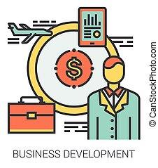 desenvolvimento, linha, negócio, icons.