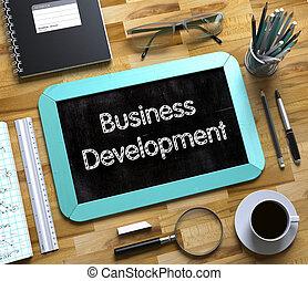 desenvolvimento negócio, conceito, ligado, pequeno, chalkboard., 3d.