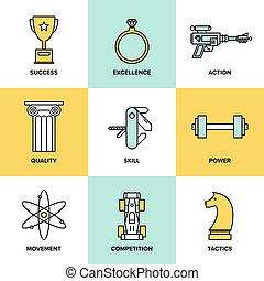 desenvolvimento negócio, habilidades, apartamento, ícones, jogo