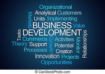 desenvolvimento negócio, palavra, nuvem