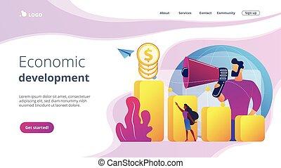 desenvolvimento, page., conceito, econômico, aterragem