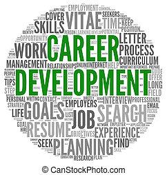 desenvolvimento, palavra, carreira, tag, nuvem branca