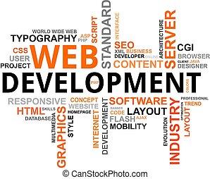 desenvolvimento, palavra, -, nuvem, teia