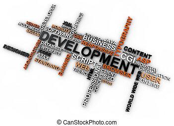 desenvolvimento, palavra, sobre, fundo, nuvem branca