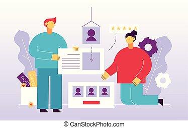 desenvolvimento, teia, botão, conceito, grande, pessoas, mídia, ilustração, modernos, local, apartamento, leaves., taxa, vetorial, desenho, elements.trendy, segurando, marketing, ícone, estrelas, social