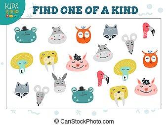 desenvolvimento, tipo, crianças, ilustração, um, jogo, vetorial, achar, pré-escolar