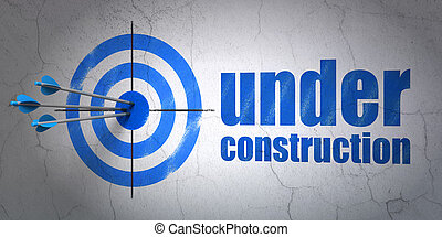 desenvolvimento web, concept:, alvo, e, construção, ligado, parede, fundo
