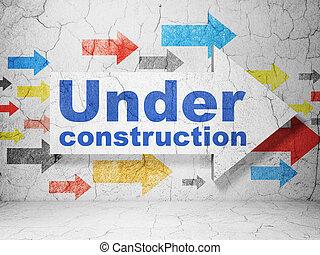 desenvolvimento web, concept:, seta, com, construção, ligado, grunge, parede, fundo