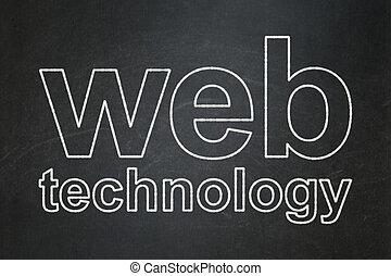 desenvolvimento web, concept:, teia, tecnologia, ligado, chalkboard, fundo
