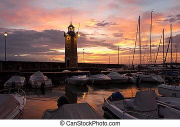 Desenzano del Garda Marina Old Lighthouse Sunrise