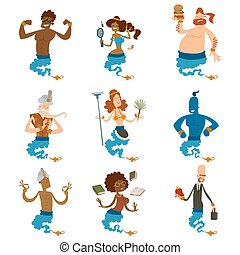 deseo, conjunto, magia, aladdin, deseo, tesoro, carácter, ...
