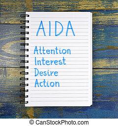deseo, interés, aida-, siglas, atención, de madera, escrito, cuaderno, plano de fondo, acción