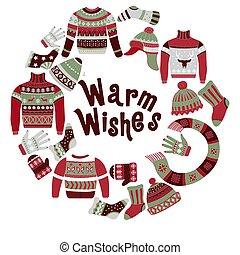 deseos, géneros de punto, festivo, tarjeta, tibio,...
