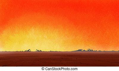 desert., ξηρασία , ραγισμένος , ανατολή