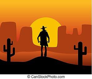 desert., 西, 野生, 背景, gunslinger.