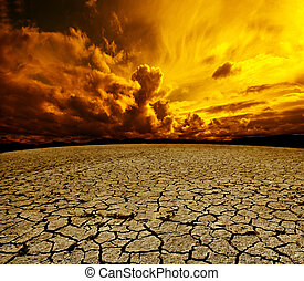 Desert and cloudy sky